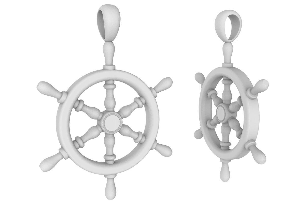 3D jewelry pendant steering wheel model