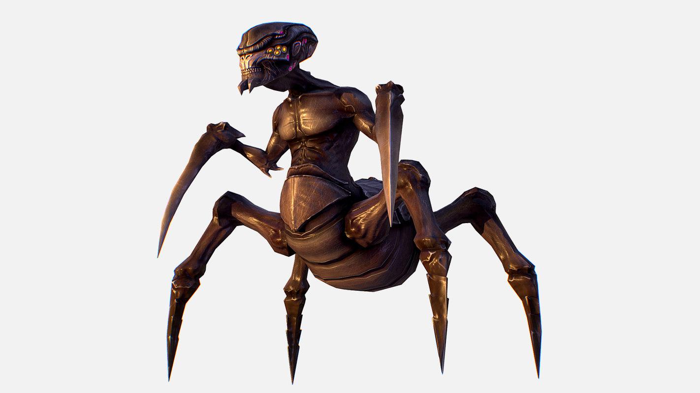 3D character arthropod alien hornbeam