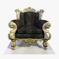3D baroque brass velvet armchair model