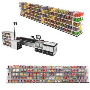 3D supermarket shelves