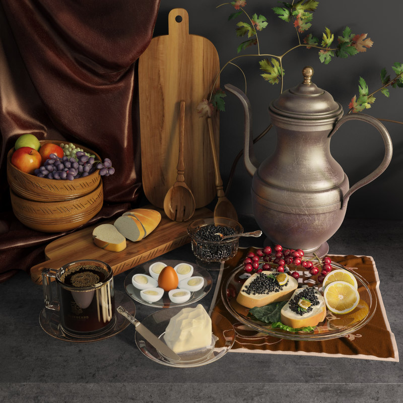 modest breakfast life 3D model