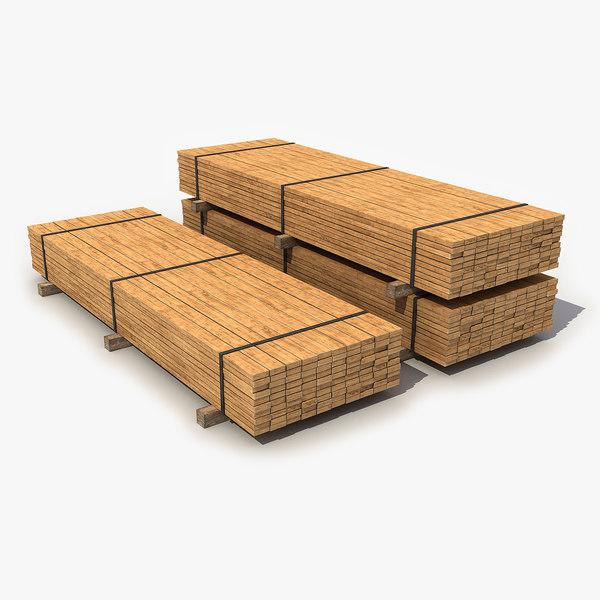3D model industrial lumber package