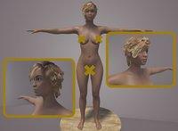 3D model nude female Miranda