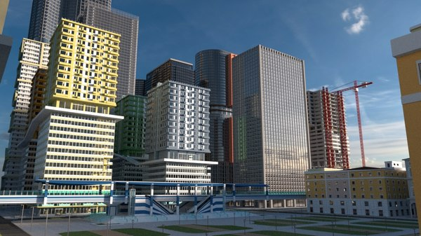 city skyscraper buildings 3D model