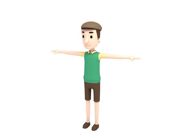 3D man character cartoon