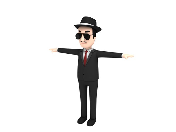 3D mafia character cartoon