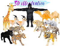 africa animal illustration - model