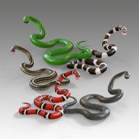 3D snake reptiles garter