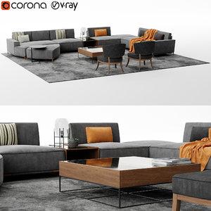 3D galo sofa set model
