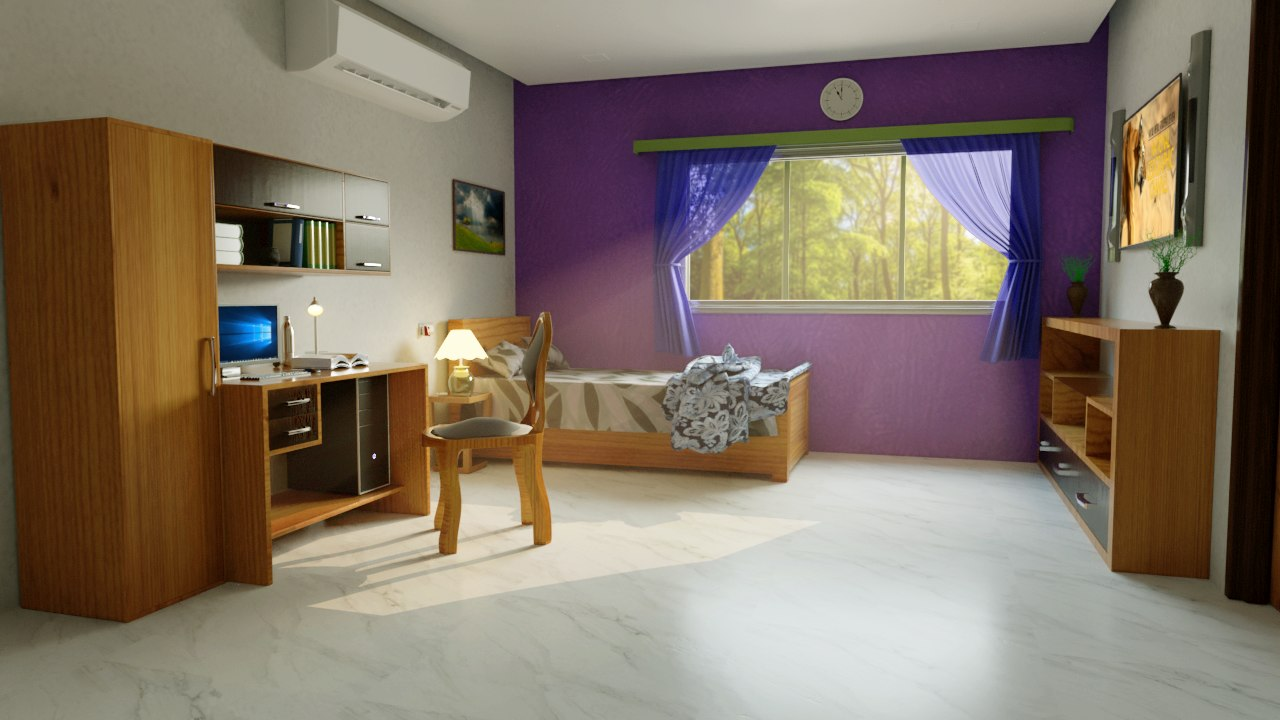 furnished interior bed rooms 3D model