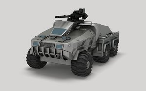 3D sci-fi fighting vehicle