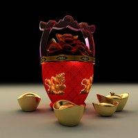 chinese gold ingot bucket 3D