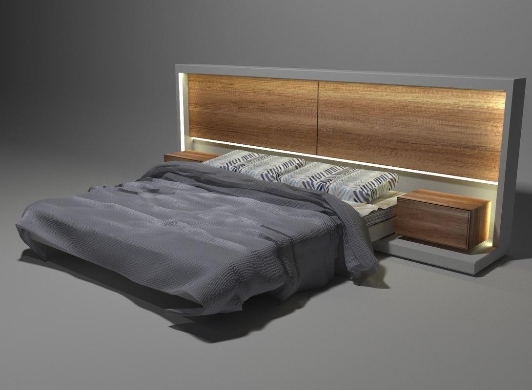 modern bed led light 3D model