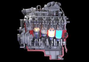 cutaway v8 engine ignition 3D model