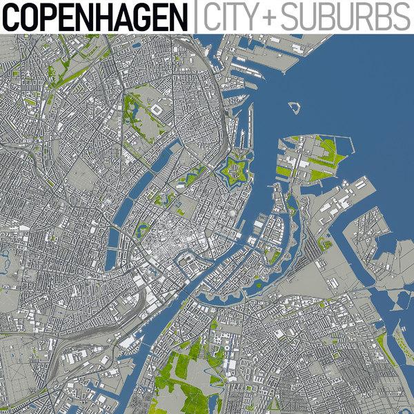 copenhagen area town 3D model