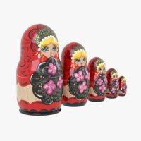 russian matryoshka dolls 3D model