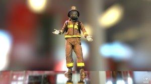 3D model firefighter character