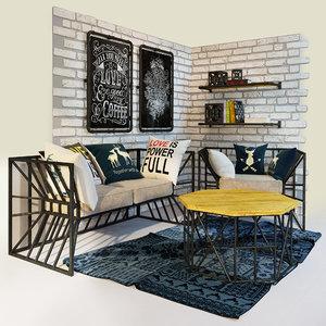 armchair table 3D model