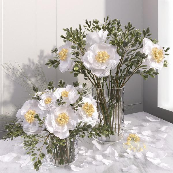 white peony flower vases 3D