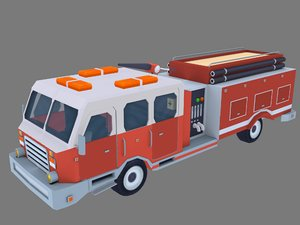 3D model low-poly american firetruck