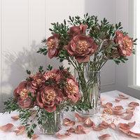 3D peony flower vases model