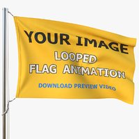 3D model realistic flag animation 01