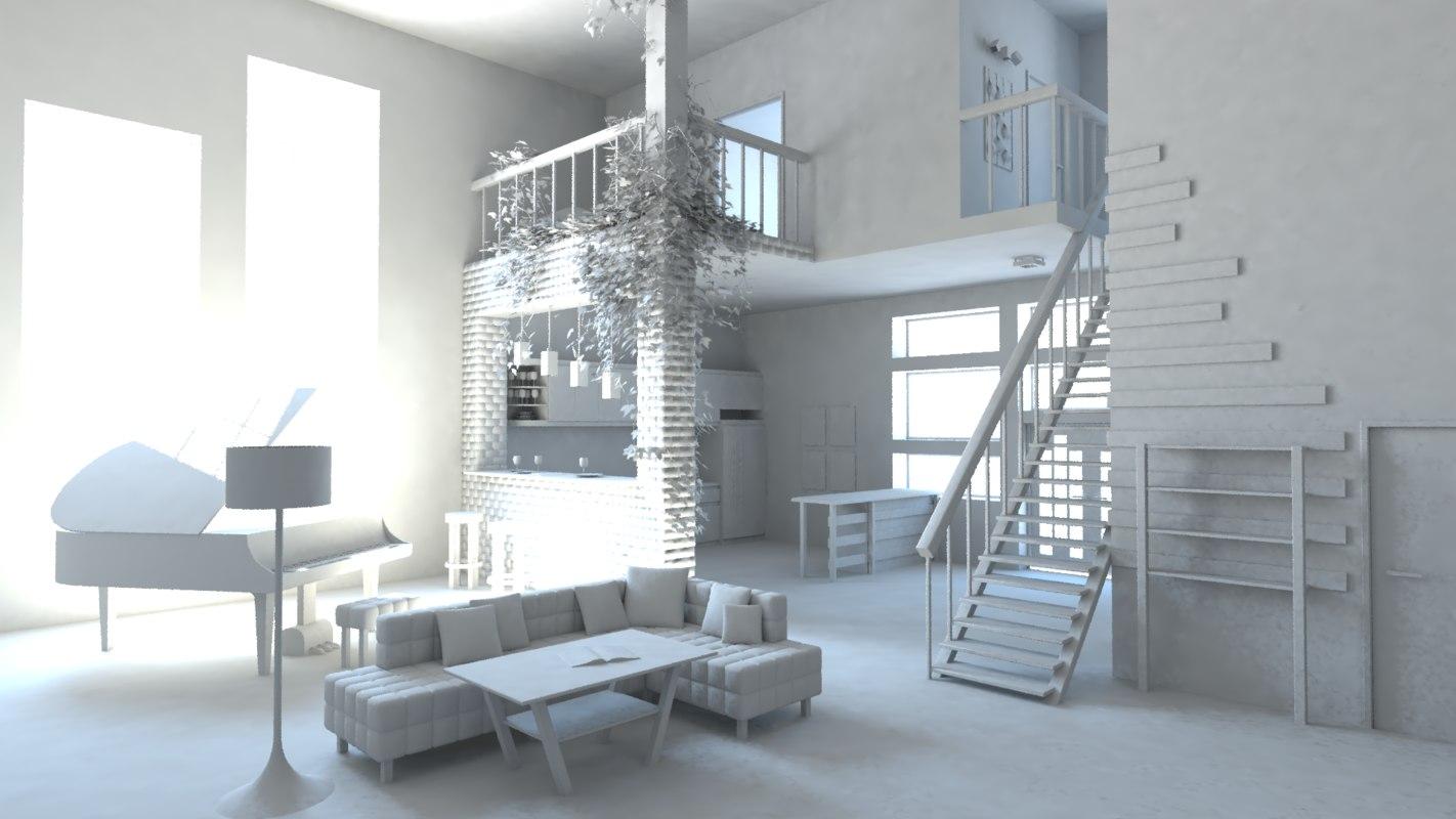 3d modern house kitchen furniture