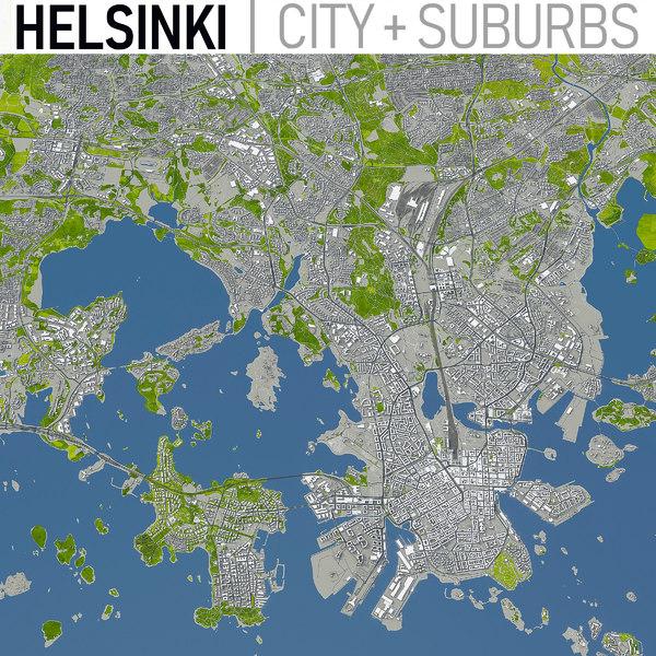 helsinki area town 3D model