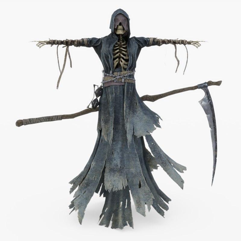 rigged grim reaper scythe model
