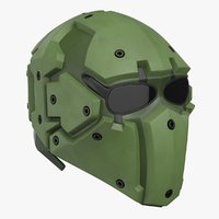 3D model kevlar tactical mask olive