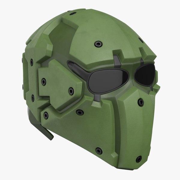 3D model kevlar tactical mask olive