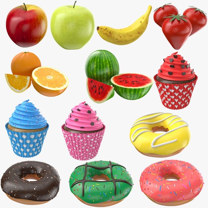 fruits dessert apple donuts 3D model