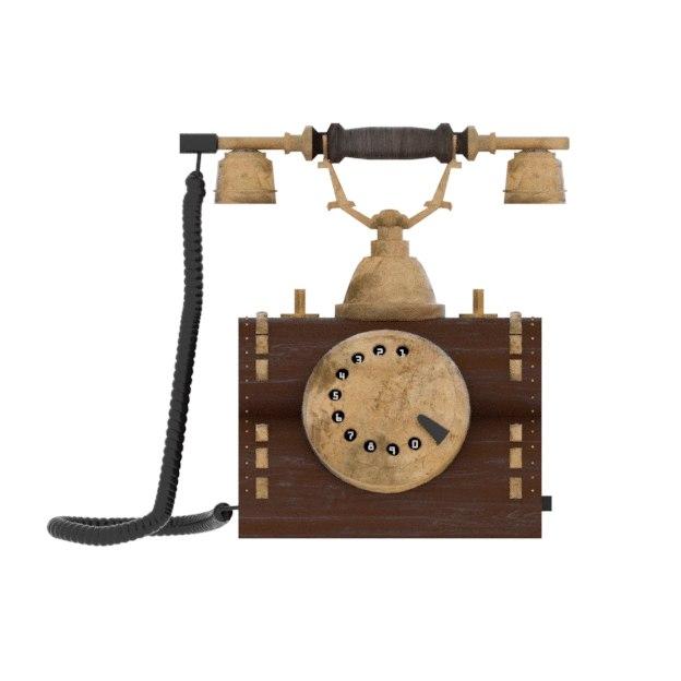 old antique phone 3D