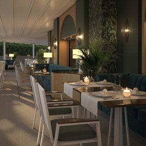 interior scene restaurant 3D model