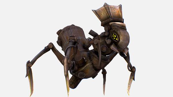 character arthropod metal crab 3D model