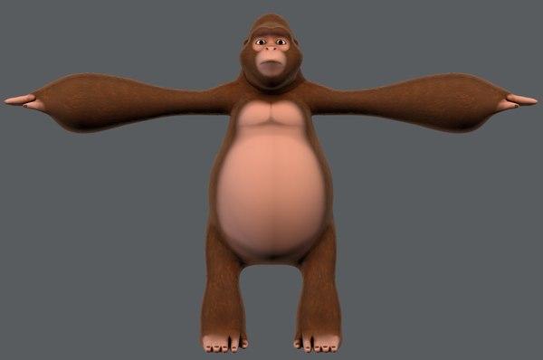 3D king kong v01 cartoon animal model