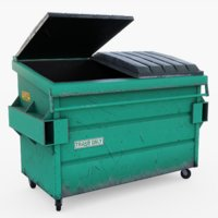 garbage dumpster green 3D model