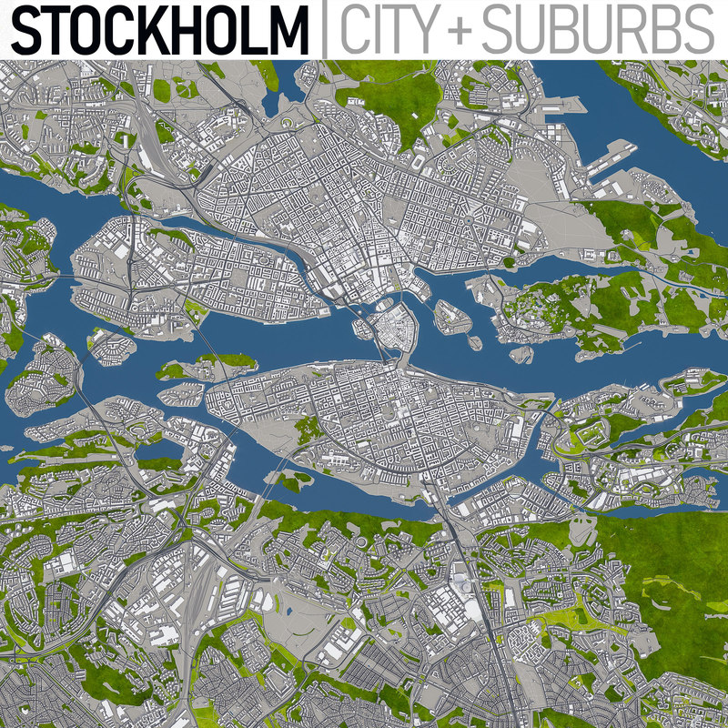 stockholm area urban 3D model
