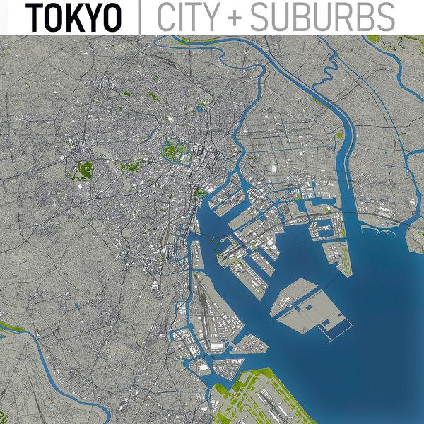 3D model tokyo area urban