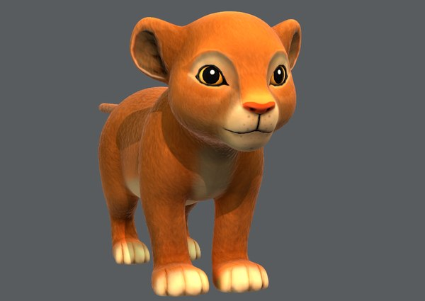 lion v01 cartoon animal model