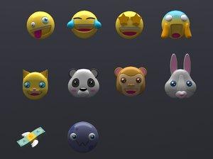 emoji 10 pack 3D model