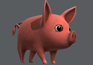 3D pig cartoon v02 animal