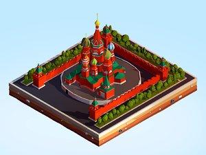 cartoon kremlin landmark 3D model