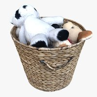 3D model wicker basket plush animals