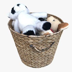 3D model wicker basket plush animals