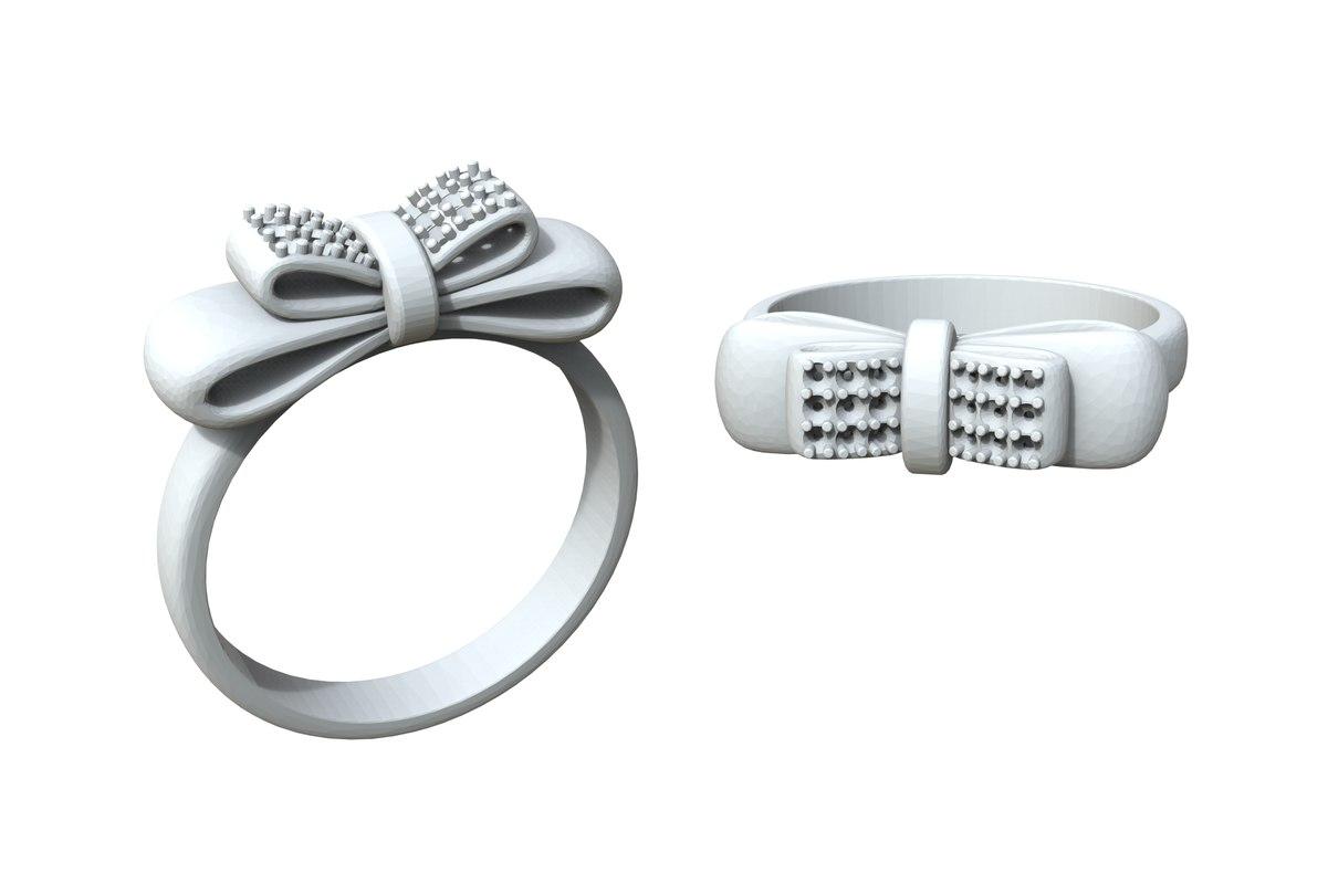 3D jewelry bow ring diamonds