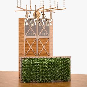 barber furniture set 3D model