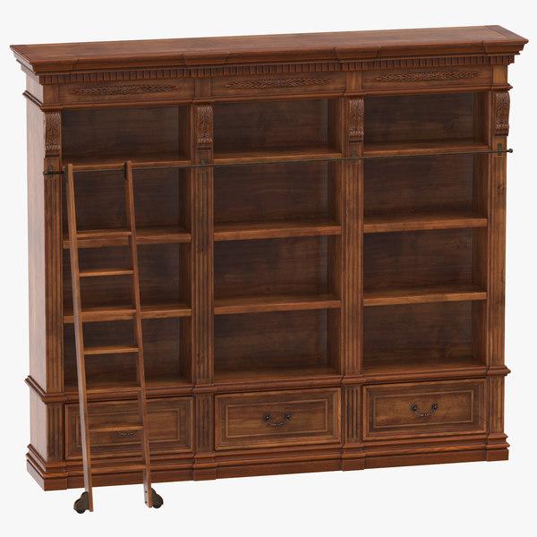 3D classical book shelf model
