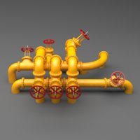 3D set industrial pipes large