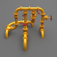 3D set industrial pipes model